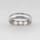 Platinum band in brushed finish with two polished lathe-cut lines