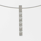 Platinum bar pendant with 5 flush-set round diamonds.