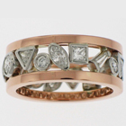 Platinum diamond band with multiple shapes of diamonds in bezels set between 14 karat rose gold square bands.