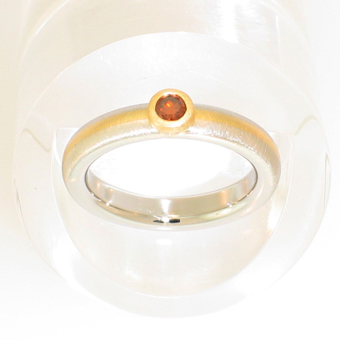 Platinum and 18 Karat Yellow Gold 2-tone matte-finished heavy band with natural-colored round orange diamond in 18 Karat Yellow Gold full bezel setting