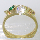 "14 Karat Yellow Gold multi-bezels ring with Emeralds and Diamonds set all ""willy-nilly"" in conical bezels (alternate view)"