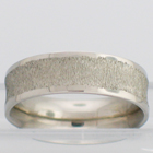 palladium concave band with wire wheel textured center and polished borders