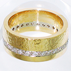 14 Karat Yellow and White Gold 2-tone band with bead-set white diamonds and hammered and high-polished finishes