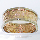 14 Karat Yellow Gold Reticulated Flat Band with 14 Karat White Gold Flat Thick borders