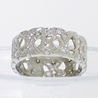 Platinum peirced shapes filigree band with bead-set round melee diamonds