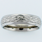 Palladium comfort-fit band with hand-engraved diamond pattern