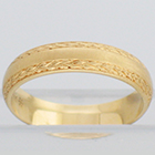 14 Karat Yellow Gold hand-engraved band with wheat borders pattern