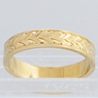 14 Karat Yellow Gold flat hand-engraved band with wheat pattern