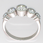 Platinum 5-stone ring with round brilliant diamonds in bezels
