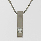 Platinum square bar pendant with flush-set princess-cut diamond.