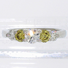Platinum 5-stone ring with white and canary-yellow round brilliant diamonds in 4-prong gallery settings (alternate view)
