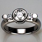 Platinum diamond ring with side stones set between round bars and bezel wall.