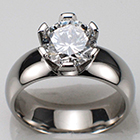 Palladium ring with 1.5 ct. round brilliant diamond set in platinum hand-cut six-prong head on heavy duty palladium shank.