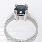 Palladium solitaire ring with Black Diamond in heavy 4-prong setting