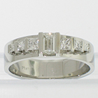 Flat Platinum band with baguette and princess-cut diamonds channel-set between flat rails (alternate view)