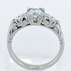 Platinum antique-style diamond ring (alternate view)
