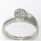 14 Karat White Gold solitaire with propeller-style wrap-around bezel