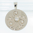 14 Karat White Gold celtic diamond medallion