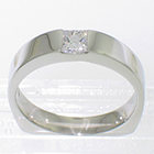 Platinum flush-set princess-cut solitaire 0.35 carat