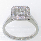 "Platinum ""halo"" ring with 1.01 carat Radiant-cut Diamond in full bezel over 0.24 carat total-weight bead-set halo-plate"