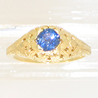 14 Karat Yellow Gold Antique-style hand-engraved Sapphire Solitaire ring (alternate view)