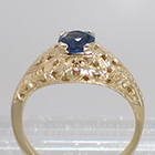 14 Karat Yellow Gold Antique-style hand-engraved Sapphire Solitaire ring