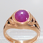 14 Karat Rose Gold Star Ruby Gypsy Ring with leaves