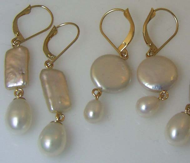 double pearl dangles with assorted shapes