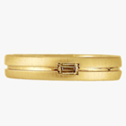 14k yellow brushed band with centered lathe line and flush-set golden yellow colored diamond baguette