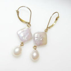 double pearl dangles with diagonal square button pearls